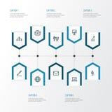 Handlowe kontur ikony Ustawiać Kolekcja statystyki, Biznesowa prezentacja, teczka I Inni elementy, Także Zawiera Zdjęcie Stock