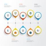 Handlowe Płaskie ikony Ustawiać Kolekcja Przedstawiać mężczyzna, przedsiębiorcy budowlanego, statystyk I Innych elementów, Także  Obraz Stock