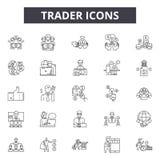Handlowiec kreskowe ikony, znaki, wektoru set, kontur ilustracji pojęcie ilustracja wektor