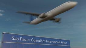 Handlowy samolot bierze daleko przy Sao paulo lotniska międzynarodowego Redakcyjnym 3D renderingiem Obraz Stock