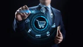 Handlu elektronicznego Cyfrowego marketingu i sprzedaży technologii Online Robi zakupy biznesowy pojęcie zdjęcia stock