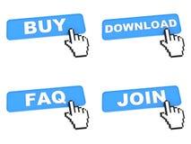 handlu elektronicznego pojęcie - sieć guziki z ręka kursorem Zdjęcie Stock