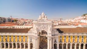Handlu Pracy De Comercio Lisbon Kwadratowy widok z lotu ptaka, 2 2016 Wrzesień Obrazy Royalty Free