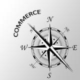 Handlu słowo pisać na boku kompas Obraz Stock