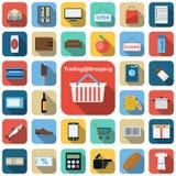 Handlujący płaskie ikony i robiący zakupy Obraz Royalty Free