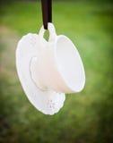 handluje porcelany świeżego porcelanowe truskawek herbatę razem Fotografia Stock