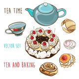 handluje porcelany świeżego porcelanowe truskawek herbatę razem Wektorowy ustawiający ciasto, pieczenie, teapot i filiżanka, Obraz Stock