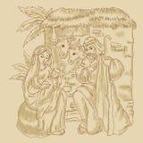 Handlungsfreiheitsillustration der Geburt Christi von Jesus Lizenzfreie Stockfotos