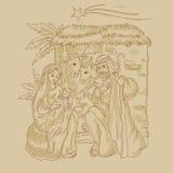 Handlungsfreiheitsillustration der Geburt Christi von Jesus mit Kometen Lizenzfreie Stockfotografie
