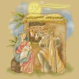 Handlungsfreiheitsillustration der Geburt Christi von Jesus mit Kometen Lizenzfreies Stockfoto