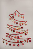 Handmad tinsel christmas tree hanging baubles, Creativity Concep Stock Photo