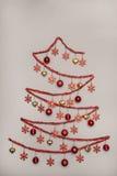 Handmad tinsel christmas tree hanging baubles, Creativity Concep Stock Photo