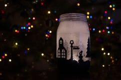 Handmade świeczka właściciel z tłem barwiąca girlanda Zdjęcie Royalty Free