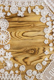Handmade белая картина рамки вязания крючком, вяжущ, шьющ Стоковая Фотография RF