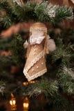 Handmade деревенская игрушка на дереве Нового Года Стоковые Изображения RF