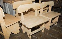 Handmade деревянные стулья стоковые изображения