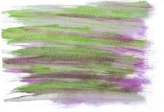 Handmade зеленый и фиолетовый конспект акварели Стоковая Фотография RF