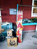Handmade знак осени с статуями тыквы стоковые фото