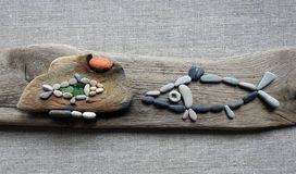 Handmade 2 изображения - рыбы, используя увидеть доброту, Литву стоковая фотография