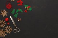 Handmade инструменты для делать взгляд сверху подарка рождества Стоковое Изображение