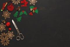 Handmade инструменты для делать взгляд сверху подарка рождества Стоковое Фото