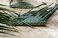 Handmade корзины от листьев ладони Стоковая Фотография RF