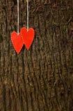 2 handmade красных сердца Стоковое Изображение RF