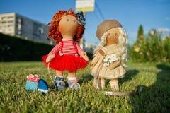 2 handmade куклы с естественными волосами Стоковая Фотография RF