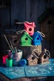 Handmade малые фидер и план строительства птицы Стоковые Изображения RF