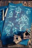 Handmade дом для птиц и плана строительства Стоковые Фотографии RF