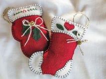 Handmade орнаменты рождественской елки ткани Стоковые Изображения RF