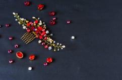 Handmade орнамент волос Красный цвет на черной предпосылке Стоковые Изображения