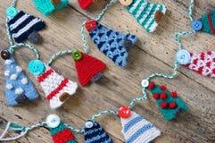 Handmade орнамент, связанная сосна, рождество, Xmas Стоковые Изображения