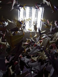 Handmade покрашенные краны origami на строках потолка Стоковые Фотографии RF