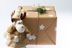 Handmade подарочная коробка с оленями новый присутствующий год Стоковая Фотография RF