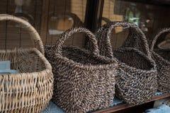 Handmade плетеные бамбуковые корзины Стоковые Изображения RF