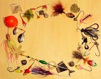 Handmade рыболовные снасти на белой предпосылке стоковые фотографии rf