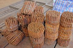 Handmade свеже свернутые сигары на рынке фермеров в Villarrica, Парагвае стоковые изображения rf
