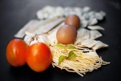 Handmade свежие макаронные изделия Стоковая Фотография