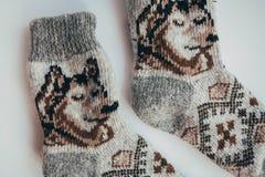 Handmade связанные носки на холодный сезон над взглядом Много различных голубых носок цвета Стоковая Фотография