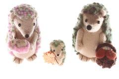 Handmade семья игрушки hedgehog совместно вверх Стоковая Фотография RF