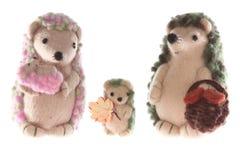 Handmade семья hedgehog горизонтальная Стоковые Изображения