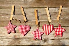 Handmade сердца и звезды Стоковые Фото
