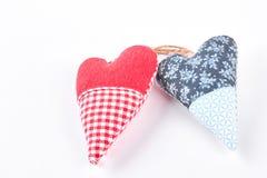 Handmade сердца на белой предпосылке Стоковая Фотография