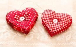 Handmade сердца на день Валентайн Стоковые Изображения