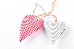 2 handmade сердца ткани Стоковые Фото