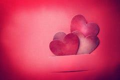 Handmade сердца валентинки бумажного ремесла Стоковые Фото