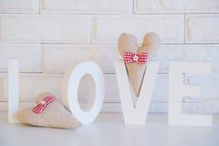 Handmade сердца ткани украшения Стоковое Изображение RF