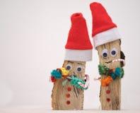 2 handmade статьи Санты сделанной от древесины Стоковые Изображения