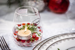 Handmade стекло с свечкой Стоковые Фотографии RF